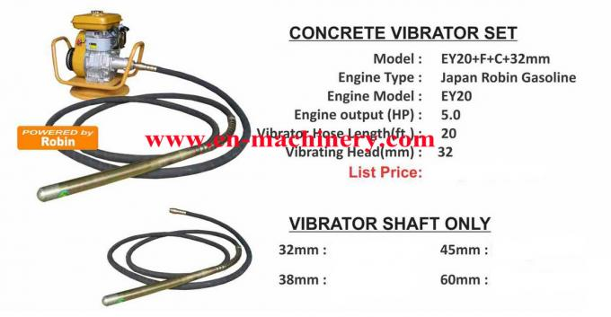 Hot Sell Portable robin ey20 / honda Gx160/270 engine concrete vibrator
