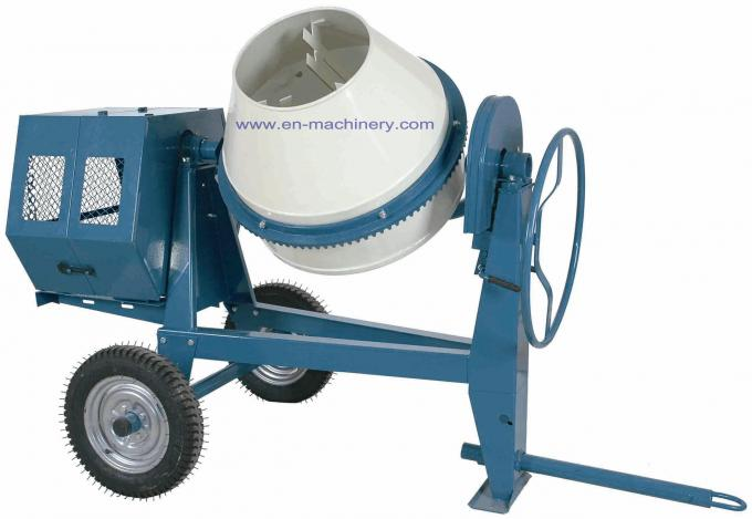 Mini Cement Mixer Rated Overload Concrete Mixer for Cast Iron CogWheel and Rubber Wheels