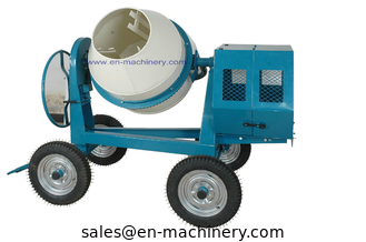 China Mini Cement Mixer Rated Overload Concrete Mixer for Cast Iron CogWheel and Rubber Wheels supplier