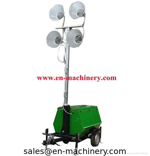 China Vehicle Mounted Portable Outdoor Light Tower Handbrake Mobile Lighting Supplier