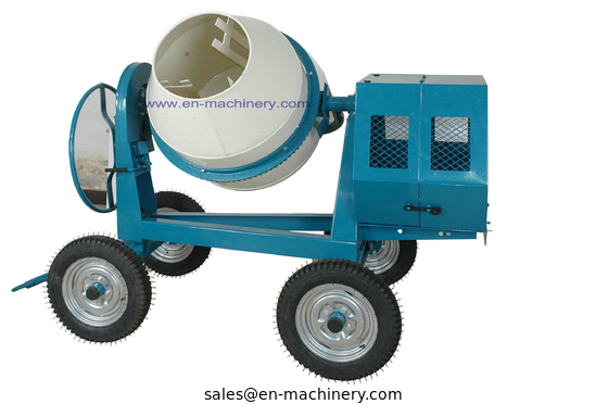 China Mini Cement Mixer Rated Overload Concrete Mixer for Cast Iron CogWheel and Rubber Wheels factory